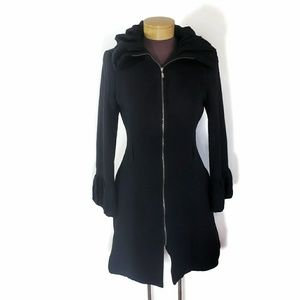 Zara Womens Black Zip Up Jacket Ruffle Collar